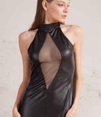Платье из экокожи с сетчатой вставкой Opium Luxury L207