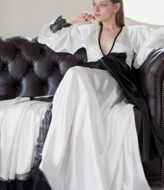 Халат атласный с широким поясом Opium Luxury L705