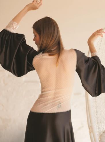 Халат атласный с открытой спиной из сетчатой ткани Opium Luxury  L704